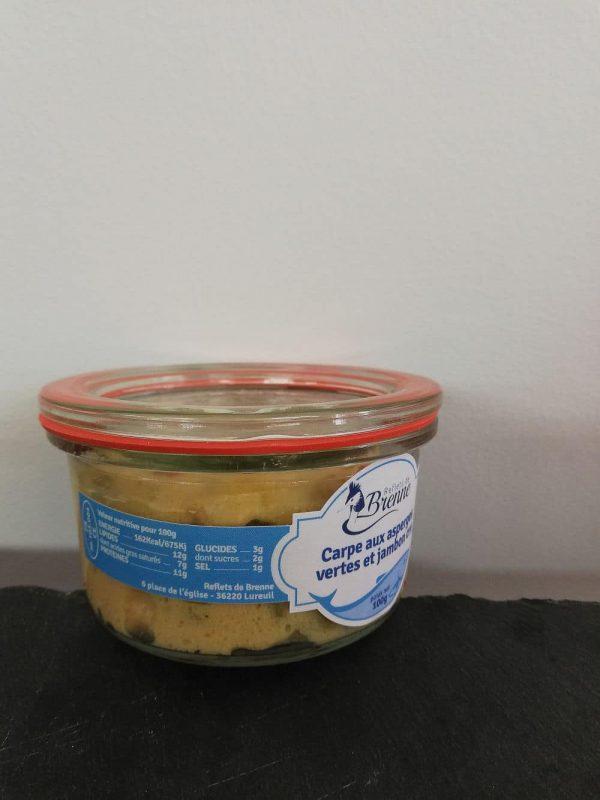 verrine de carpe aux asperges et jambon cru