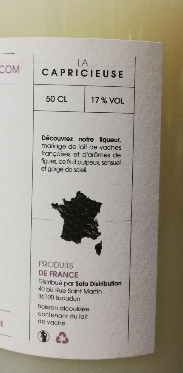 Liqueur au lait de vache aromatisé figues