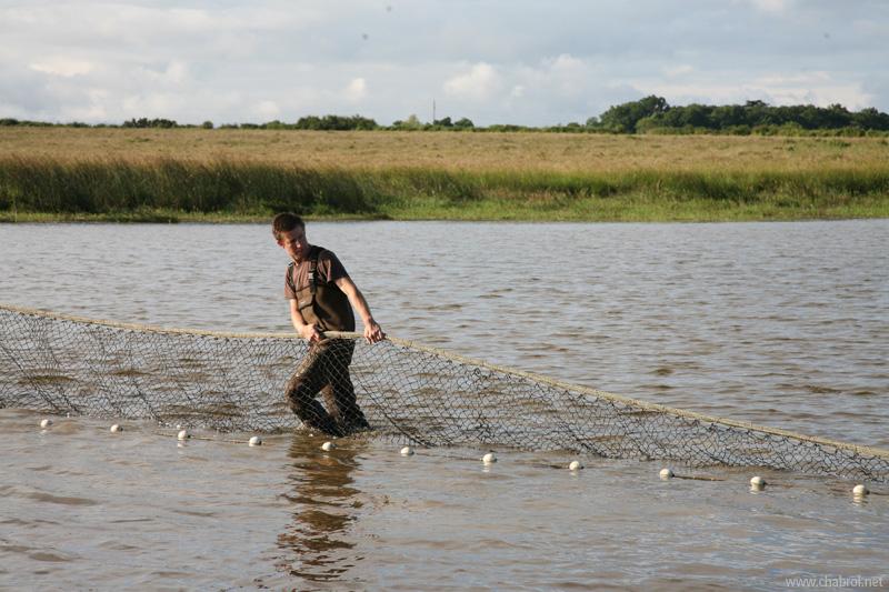 Déroulement du filet autour de l'étang