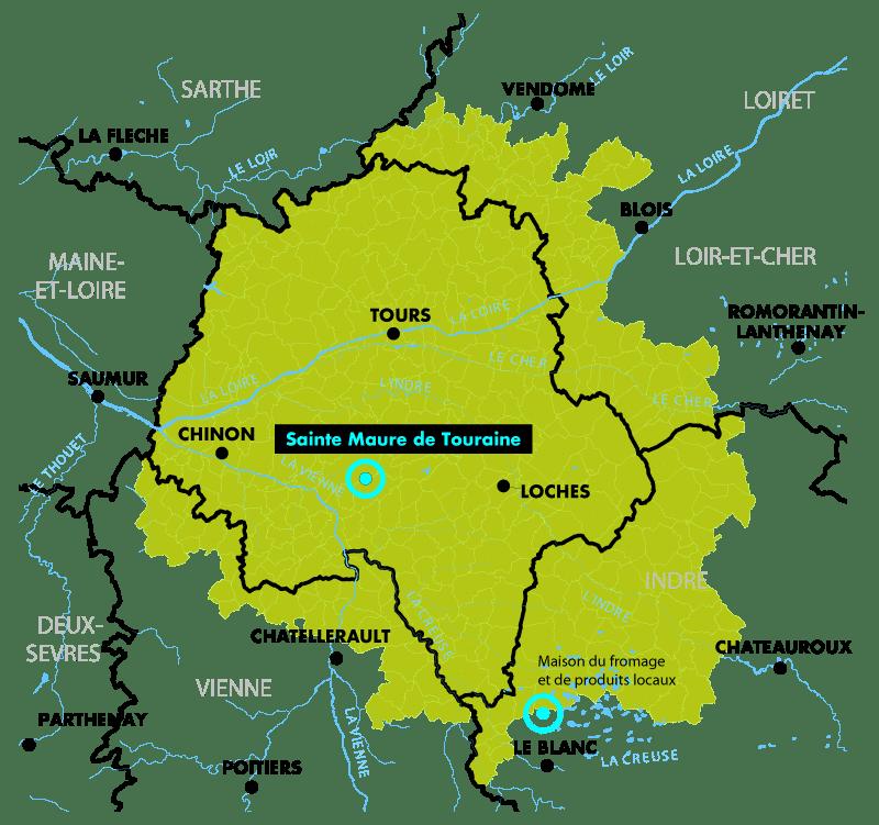 Plan géographique de l'emplacement du village Sainte Maure de Touraine