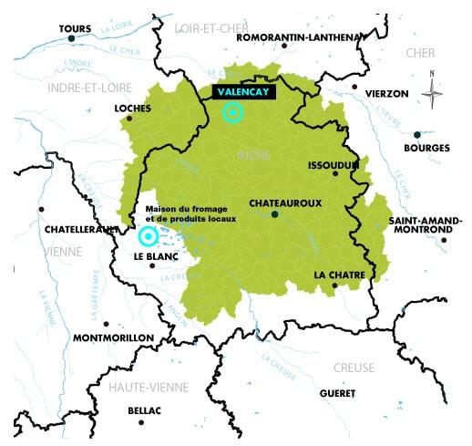 Plan géographique de l'emplacement de Valençay