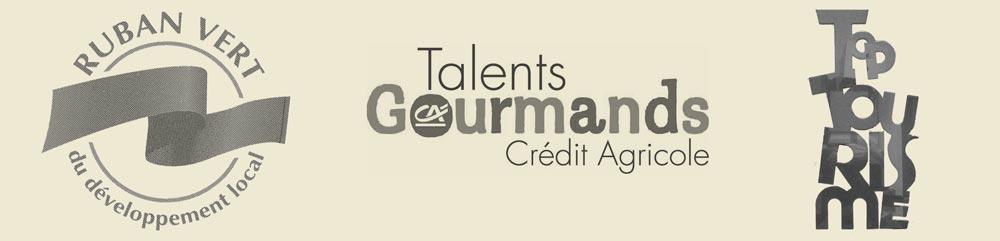 Logos des récompenses de la Maison du fromage ruban vert, talents gourmands, Top Tourisme Gastronomie